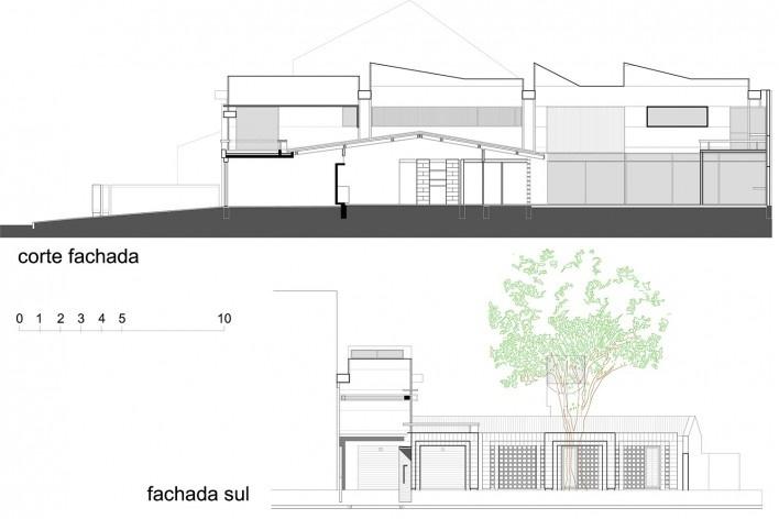 Casa de Ipanema, corte e fachada, Sergio M. Marques, 2007/2009<br />Desenho Sergio M. Marques