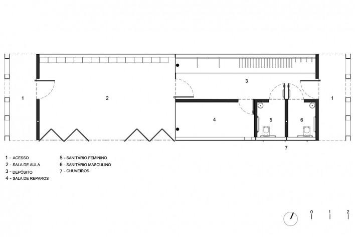 Requalificação urbana e ambiental da orla de Ilha Comprida, Edifício Escola de Surf, planta, 2019. Arquitetos Marcos Boldarini e Lucas Nobre<br />Imagem divulgação