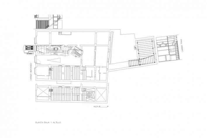 Planta baja y altillo<br />Deseño Estudio Miralles-Tagliabue