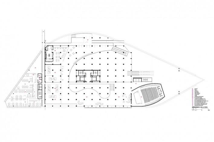 Concurso Anexo da Biblioteca Nacional, planta mezanino, Rio de Janeiro, 1º lugar, arquiteto Hector Ernesto Vigliecca Gani<br />Imagem divulgação