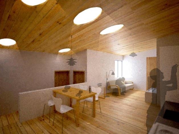 Perspectiva interna. Concurso Habitação para Todos CDHU. Casas escalonadas - Menção honrosa.<br />Autores do projeto  [equipe premiada]