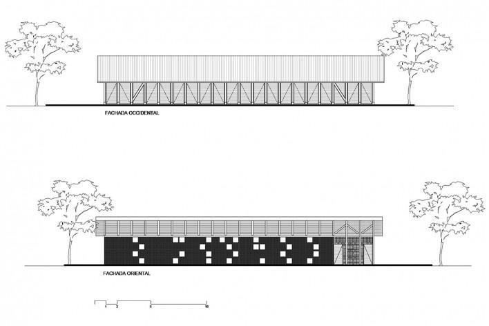 Taller de Confección Amairis, fachadas occidental y oriental, San Isidro, Colombia. Taller Ruta 4