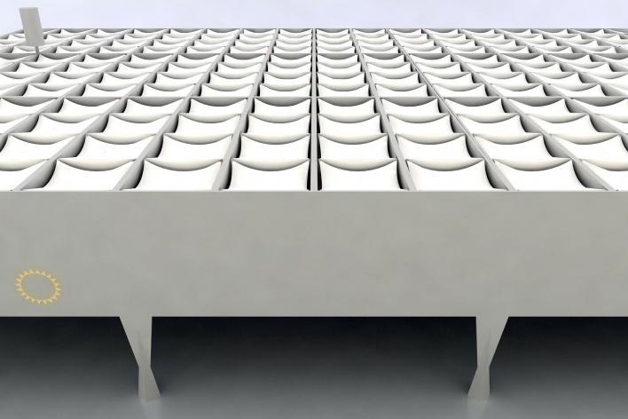 Proposta para Sobre-Cobertura do Edifício Vilanova Artigas, sede da FAU-USP, vista da proposta. Arquiteto Pedro Paulo de Melo Saraiva, 2009<br />Imagem escritório