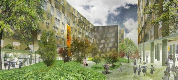 Perspectiva. Concurso Habitação para Todos. CDHU. Edifícios de 6/7 pavimentos - 1º Lugar.<br />Autores do projeto  [equipe vencedora]