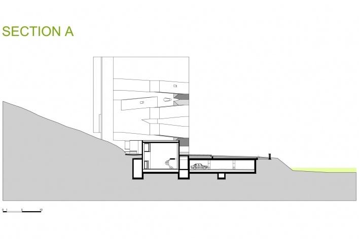 Sede da Fundação Iberê Camargo, corte A. Arquiteto Álvaro Siza, 2008<br />Desenho escritório