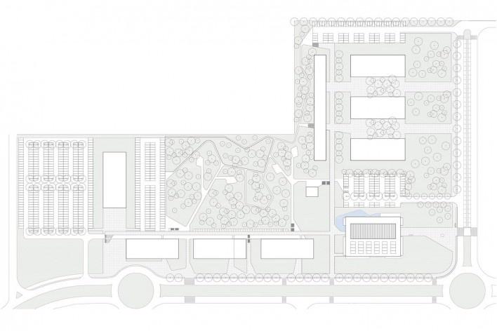 Ágora Tech Park, masterplan, Joinville SC Brasil, 2019. Arquitetos Marcus Vinicius Damon, Guilherme Bravin e Andressa Diniz / Estúdio Módulo<br />Imagem divulgação  [Estúdio Módulo]