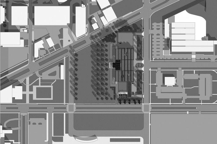 Museu de Arte Kimbell, vista aérea, Fort Worth, Texas, EUA, 1972. Arquiteto Louis I. Kahn<br />Modelo tridimensional Miguel Bernardi / Imagem Edson Mahfuz
