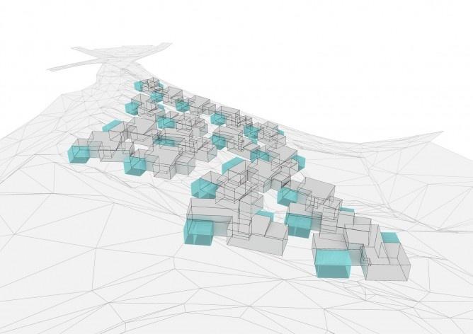 Esquema Urbanismo. Concurso Habitação para Todos. CDHU. Casas escalonadas - 2º Lugar.<br />Autores do projeto  [equipe premiada]