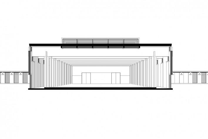 Saint Catherine's College, corte transversal do refeitório, Oxford, Inglaterra, 1959-1964, arquiteto Arne Jacobsen<br />Modelo tridimensional de Edson Mahfuz e Ana Karina Christ