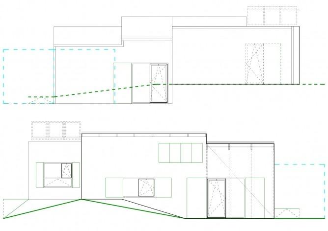 Casa tipo A. Fachadas. Concurso Habitação para Todos. CDHU. Casas escalonadas - 2º Lugar.<br />Autores do projeto  [equipe premiada]