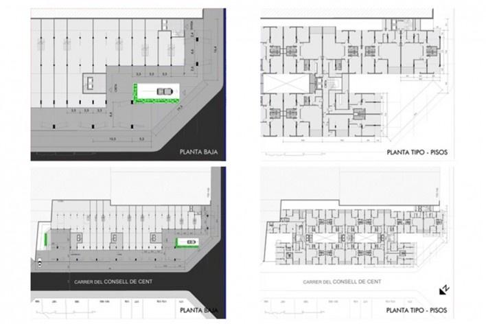 Plantas del edificio Mediterráneo<br />Elaboración Nicolás Sica Palermo