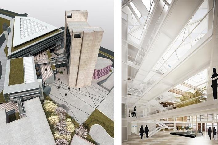 Centro de Referência em Empreendedorismo do Sebrae-MG, vista geral do conjunto e hall de circulação, 3º lugar. Arquiteto Enrique Hugo Brena, 2008<br />Desenhos escritório