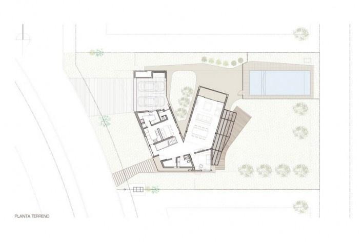 Planta Terreno. Casa V, 2011. I + GC [arquitectura]. Funes, Argentina<br />divulgação