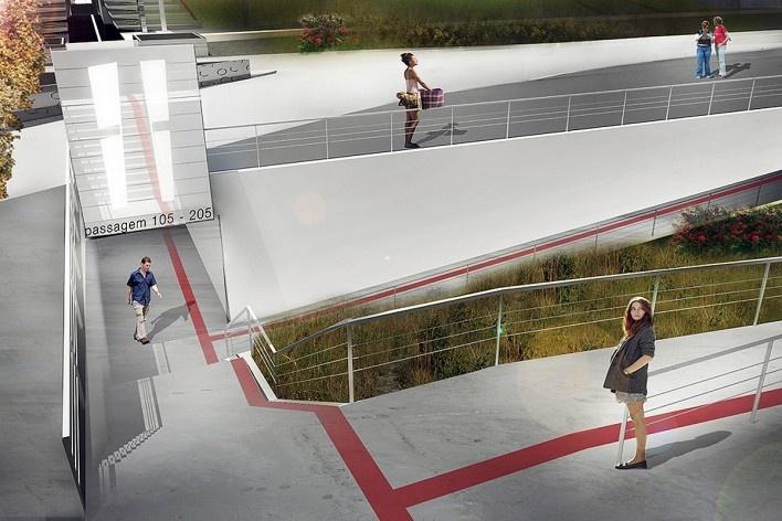 Perspectiva ilustrativa do acesso as passagens, mostrando a acessibilidade e a fácil integração da proposta com a superfície local de Brasília. Concurso Passagens sob o Eixão. Menção honrosa 5<br />divulgação