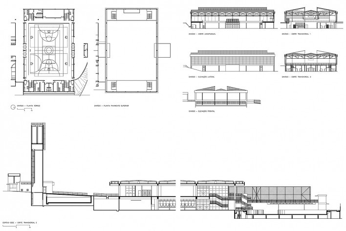 Sesc Araraquara, plantas, elevações e cortes do ginásio (acima) e corte longitudinal do conjunto (abaixo), 2000. Arquitetos Abrahão Sanovicz e Edson Jorge Elito<br />Imagem divulgação