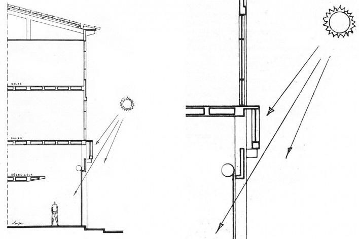 Edifício Ipê, corte e detalhe do corte, Salvador BA, 1962<br />Imagem divulgação  [Arquivo Paulo Ormindo de Azevedo]