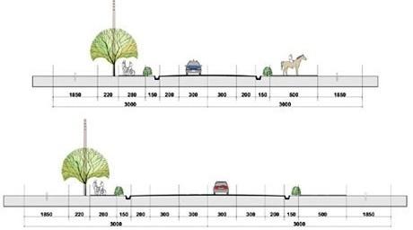 Perfil Viário da Estrada Vicinal e da RS-293<br />Imagem dos autores do projeto