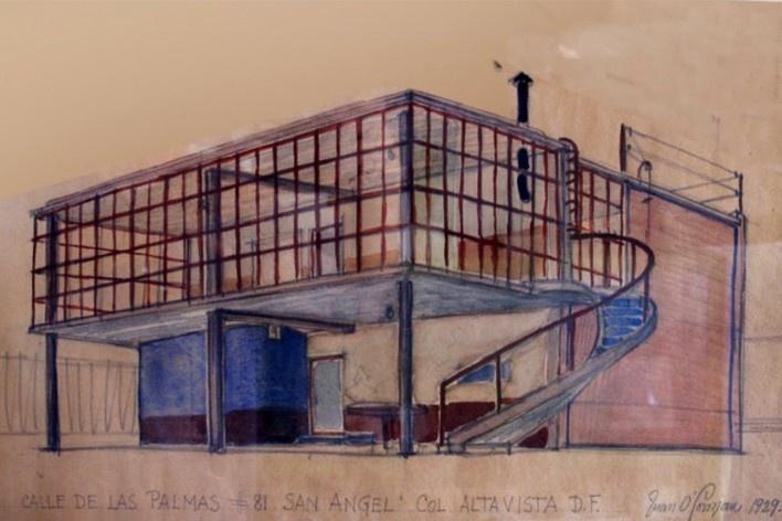 Casa-estúdio do arquiteto, Cidade do México, 1929. Desenho do arquiteto Juan O'Gorman<br />Foto Victor Hugo Mori