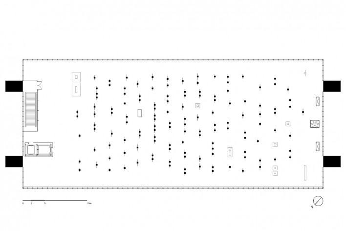 Cavaletes de vidro reconstruídos, planta de localização dos cavaletes. Metro Arquitetos Associados