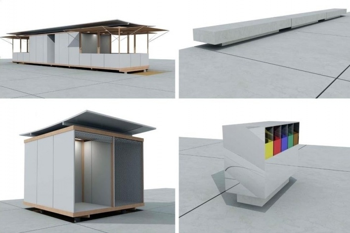 Mobiliário e equipamento urbano: módulo de serviços, banco, módulo ...