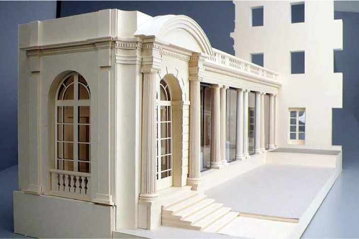 Davis Brody Bond, architects and planners for the project Model of the Portico Gallery for Decorative Arts and Sculpture at The Frick Collection, northeast view<br />Divulgation