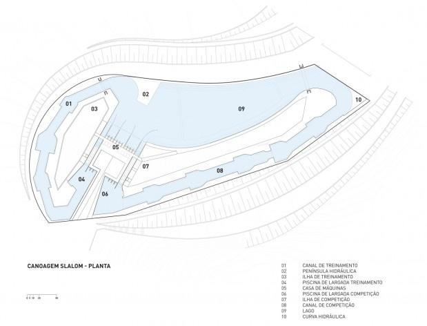 Parque Radical, planta canoagem slalom, Parque Olímpico de Deodoro, Rio de Janeiro, RJ, Escritório Vigliecca & Associados<br />Imagem divulgação