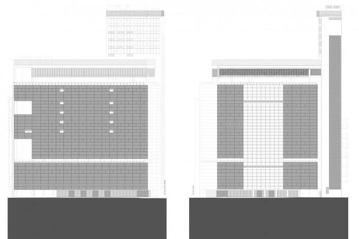 Sesc 24 de Maio, elevação rua 24 de Maio; elevação rua D. José de Barros, Paulo Mendes da Rocha + MMBB Arquitetos, São Paulo<br />Imagem divulgação
