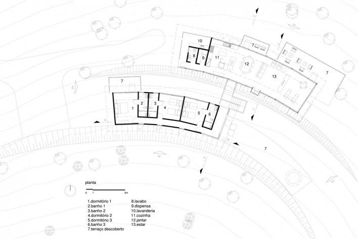 Casa em Gonçalves, planta, Gonçalves MG Brasil, 2012-2013. Arquiteto André Vainer / André Vainer Arquitetos<br />Imagem divulgação  [Acervo André Vainer Arquitetos]