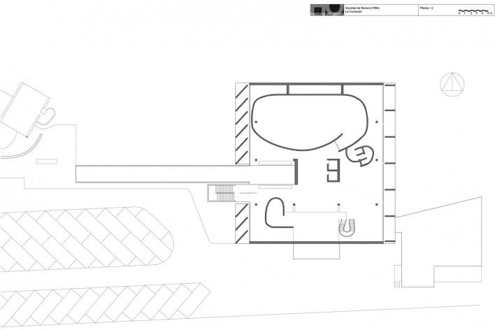 Associação da Indústria Têxtil, planta segundo pavimento, Ahmedabad, Gujarat, Índia, 1954. Arquiteto Le Corbusier [Reprodução/ Reproducción website historiaenobres.net]