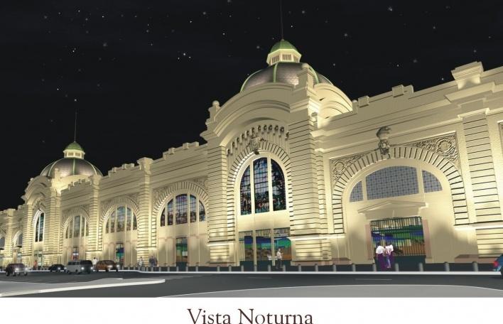 Mercado Municipal. Vista noturna<br />Imagem do autor do projeto