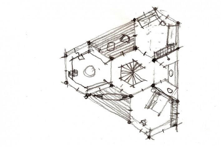 Casa do Lucas, planta do 2o andar com laboratório/biblioteca, 2 varandas, 2 dormitórios, banheiro, beira de lago genérico, arquiteto Marcos Acayaba