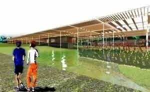 Vista do espelho d'água com pérgola ao fundo<br />Imagem dos autores do projeto