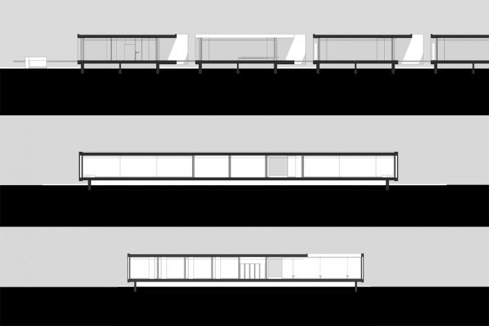 Aulário 3 (unidade de Alicante), cortes transversal e longitudinal, San Vicente del Raspeig, Alicante, Espanha, 2000. Arquiteto Javier Garcia-Solera<br />Redesenho Edson Mahfuz