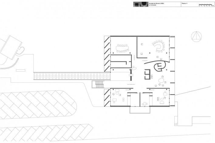 Associação da Indústria Têxtil, planta primeiro pavimento, Ahmedabad, Gujarat, Índia, 1954. Arquiteto Le Corbusier [Reprodução/ Reproducción website historiaenobres.net]