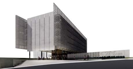 Vista da escadaria e da praça de entrada do edifício<br />Imagem dos autores do projeto