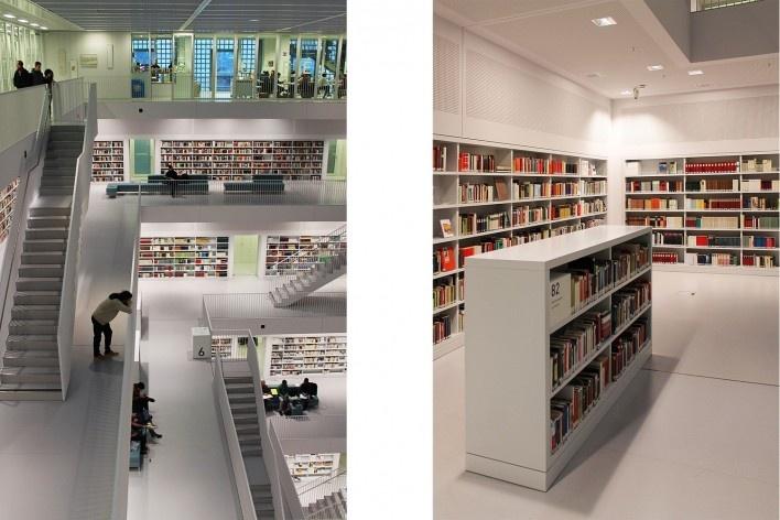 Biblioteca Municipal de Stuttgart, atrium. Arquiteto Young Yi<br />Foto Luiz Antonio Lopes de Souza