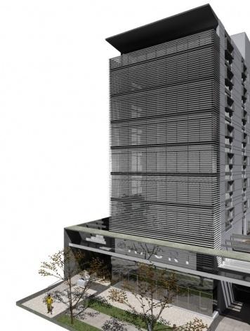 Nova Sede da AACRT – Associação dos Aposentados da Companhia Riograndense de Telecomunicações, perspectiva fachada principal. Moojen & Marques Arquitetos Associados + Arquiteto Cláudio Ferraro, 2008<br />Desenho escritórios