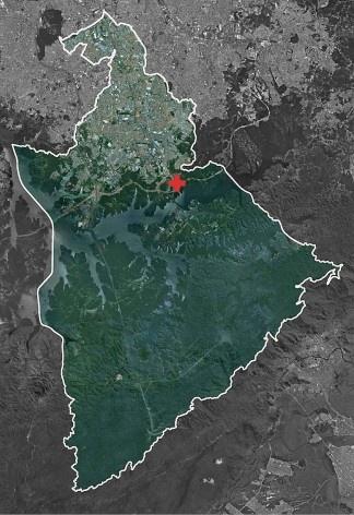 Mapa de localização dos assentamentos no Município de São Bernardo do Campo<br />Fonte Boldarini Arquitetos Associados