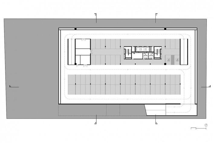 Nova sede da Confederação Nacional de Municípios – CNM, planta 2º subsolo – garagem, Brasília DF, 2016. Arquitetos Luís Eduardo Loiola e Maria Cristina Motta / Mira Arquitetos<br />Desenho divulgação