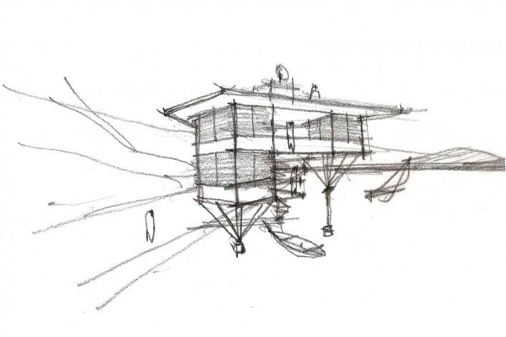 Casa do Lucas, perspectiva, beira de lago genérico, arquiteto Marcos Acayaba