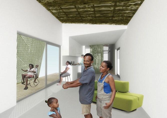 Perspectiva interna. Concurso Habitação para Todos. CDHU. Casas escalonadas - 2º Lugar.<br />Autores do projeto  [equipe vencedora]