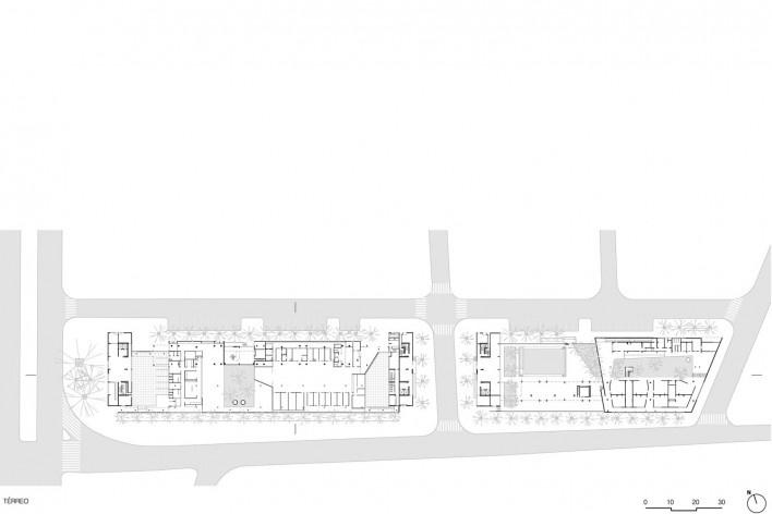 Planta pavimento térreo, conjunto habitacional do Jardim Edite<br />Desenho MMBB & H+F