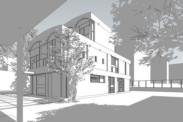 Casas Jaoul, vista exterior del edificio, Neuilly-sur-Seine, París, Francia, 1951-56. Arquitecto Le Corbusier<br />Modelo tridimensional Lucas Kirchner / Imagem Edson Mahfuz