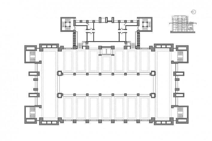Edifício Larkin, planta segundo pavimento, Buffalo, Nova York, EUA, 1905. Arquiteto Frank Lloyd Wright<br />Imagem reprodução / imagen reproducción  [Website Història en Obres]