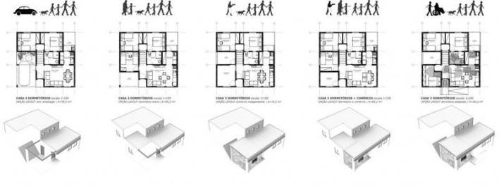Variações 2D/3D + Ampliações. Concurso Habitação para Todos CDHU.Casas escalonadas-Menção honrosa<br />Autores do projeto  [escritorio premiado]