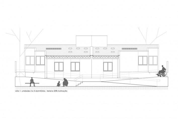 Vista 1 de unidades com 2 e 3 dormitórios (terreno com 20% de inclinação). Concurso Habitação para Todos CDHU. Casas escalonadas - Menção honrosa.<br />Autores do projeto  [equipe premiada]