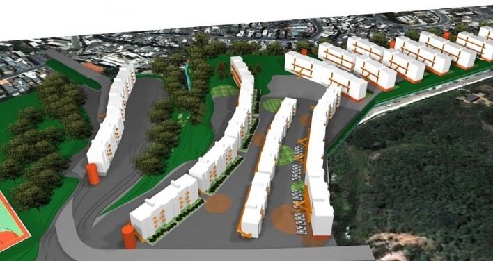 Perspectiva – Implantação em Capão Redondo. Concurso Habitação para Todos. CDHU. Edifícios de 4 pavimentos - Menção honrosa.<br />Autores do projeto  [equipe premiada]