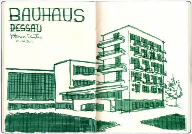 Bauhaus em Dessau, Alemanha<br />Desenho de Petterson Dantas