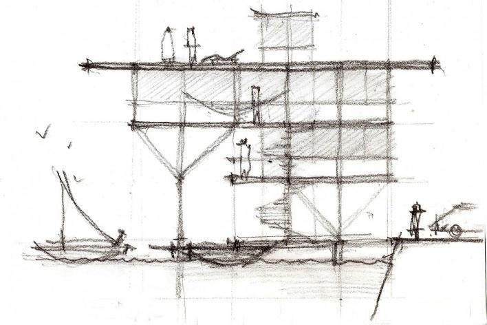 Casa do Lucas, corte, beira de lago genérico, arquiteto Marcos Acayaba