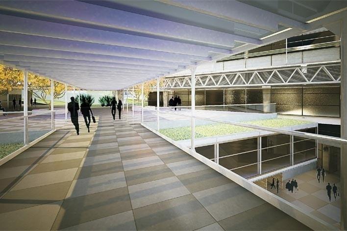 Centro de Referência em Empreendedorismo do Sebrae-MG, passarela de conexão entre os edifícios, 3º lugar. Arquiteto Enrique Hugo Brena, 2008<br />Desenho escritório
